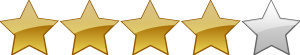 Das Bild dient dazu, dem Buch vier von fünf möglichen Sternen zu attestieren. Dazu sind vier Sterne golden, einer bleibt silber, also leer.