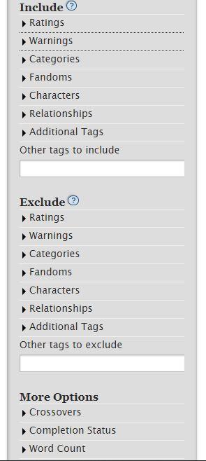 Die Suchkriterien bei der Fanfiction-Website Archive of our own