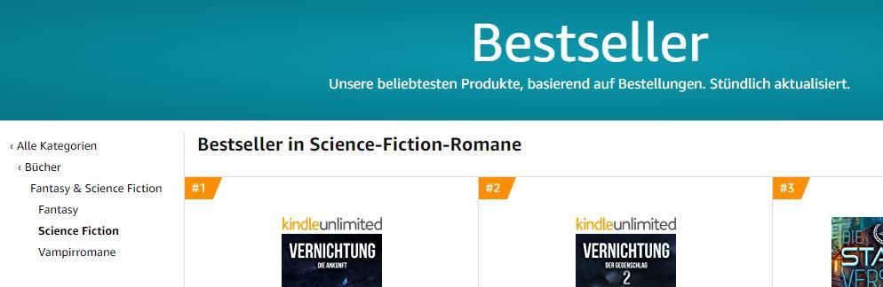 Darstellung der Amazon Bestsellerlisten bei Prints