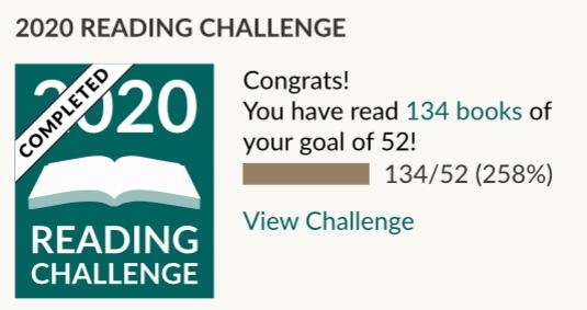 Bei Goodreads habe ich 134 von 52 geplanten Büchern gelesen.